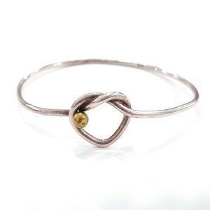 Vintage 925 Sterling Silver Knotted Heart Bracelet